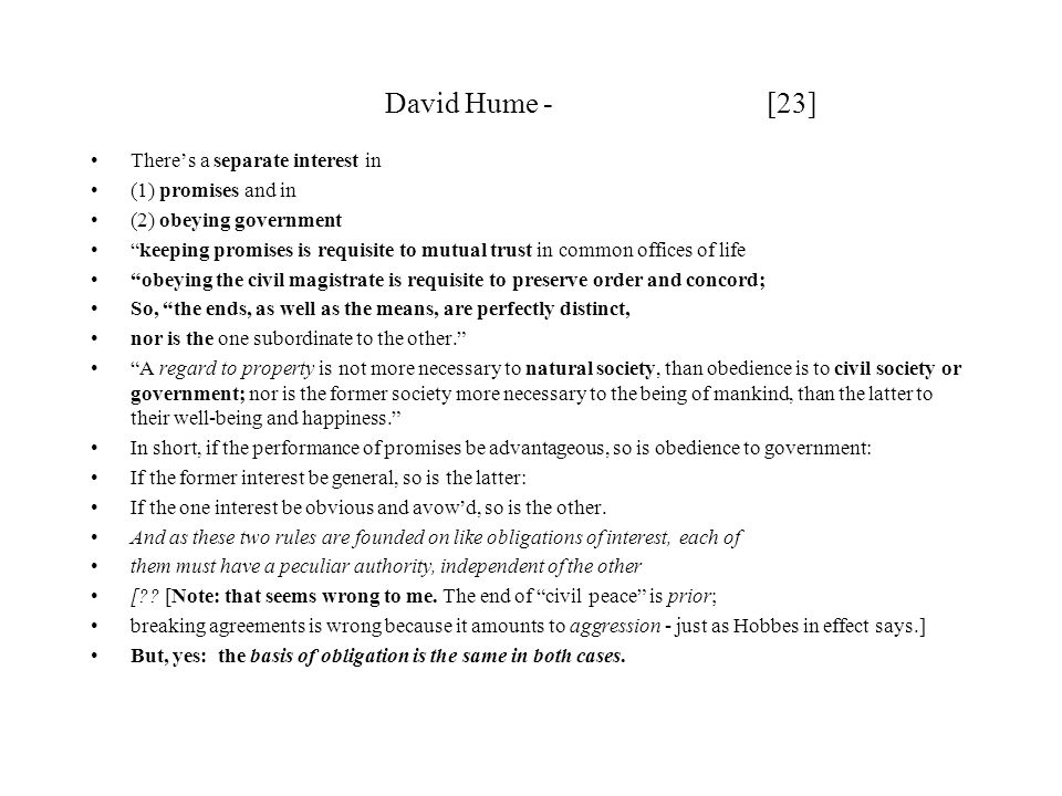 David Hume - [23] There's a separate interest in (1) promises and in